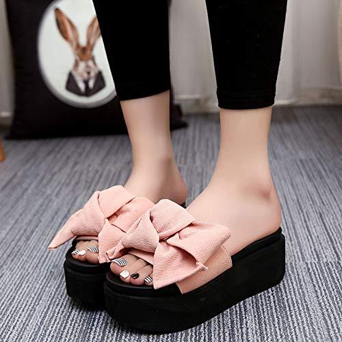 Uhrtimee Bow Fairy Flache Sandalen und Pantoffeln 2019 Neue, hochhackige Strümpfe mit Absatz Korean Korean Sweet Open Toe, 36, Pink -