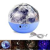 Glovion 2 in 1 lebendig Erde-Muster Nachttischlampe und Mehrere Projektion Tischleuchte Lampe - Blue