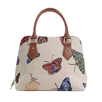 Signare Womens Fashion Canvas Tapestry Convertible Shoulder Bag in Butterfly Design