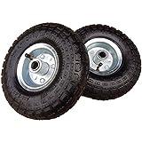 2 x Frosal Luftrad Stahlfelge Silber | Rad Bollerwagen & Sackkarre | Ersatzrad | 20 mm Achse | Rollenlager 4.10/3.50-4 | Sackkarrenrad Set | Kit | Bugrad | Schubkarre
