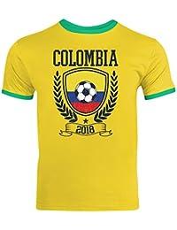 Damen T-Shirt Colombia  Kolumbien Fußball Soccer Football WM Trikot  DTG