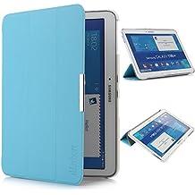 iHarbort® Samsung Galaxy Tab 4 10.1 Funda - ultra delgado ligero Funda de piel de cuerpo entero para Samsung Galaxy Tab 4 10.1 (T530 T535), con la función del sueño / despierta (azul claro)