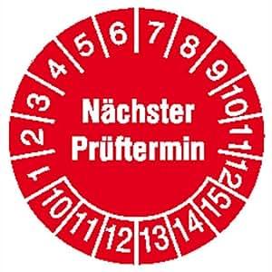 Prüfplaketten Nächster Prüftermin, 28 Stück/Bogen, selbstklebend, 2 cm Version: 10-15 - Prüfplakette Nächster Prüftermin 10-15
