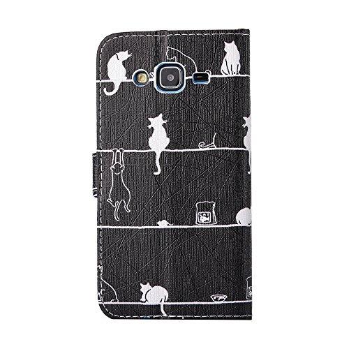 Samsung Galaxy J3 ( 2016 ) Schutzhülle Leder Hülle, Alfort 3 in 1 Flip Wallet Fashion Design Dual Use Falten Premium PU Leder Tasche Case Cover Flip Mappen Kasten Abdeckung für Samsung Galaxy J3 / J31 Katze zurück