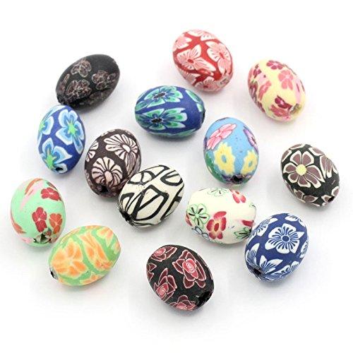 Sadingo Polymer Clay Perlen, Zwischenperlen - 10 Stück - Oval - zufälliger Mix - Mix mit Muster - 17 x 13 mm - Polymer-perlen