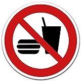 Aufkleber Essen und Trinken verboten, Ø 12 cm gemäß ISO 7010 P022