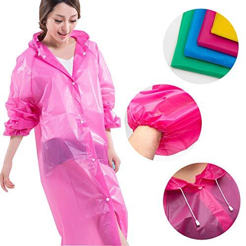 Chubasquero 3pcs desechables de emergencia Poncho de lluvia con capucha y mangas en 3colores diferentes