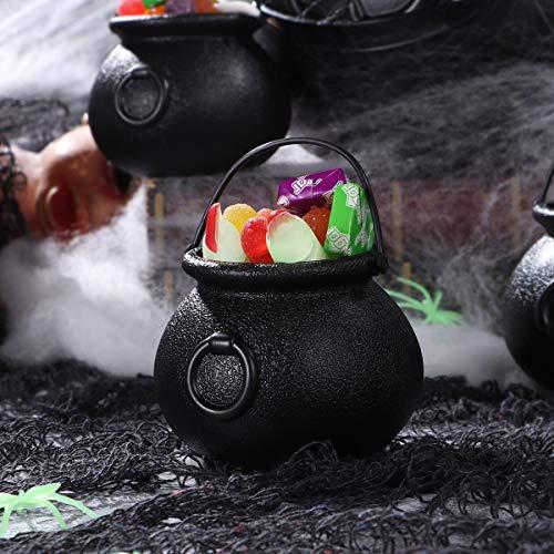 BESTonZON 7 Stück Plastikkessel und 6 Stück Augäpfel, Candy Kessel, Mehrzweck-Neuheit Candy Holder Pot mit Griff für Halloween, St. Patrick's Day Party Favors - 8