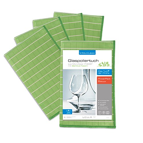 POLYCLEAN 5x Glas-Poliertuch - Mikrofasertuch mit Bambus-Fasern für streifenfreie Gläser, Fenster und Spiegel - Trockentuch für eine schlierenfreie Reinigung (60 x 40 cm, Grün, 5 Stück)