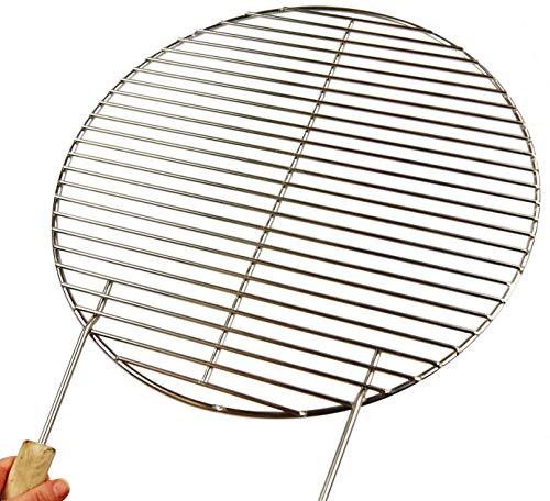Chromé Ø 34,5 cm Grille + 2 poignées. Tige à Barreau 10 mm seulement. Compatible barbecue boule 45 46 47 Weber Smokey Joe, 4 mm Diamètre barbecue, rouille, rond, ronde