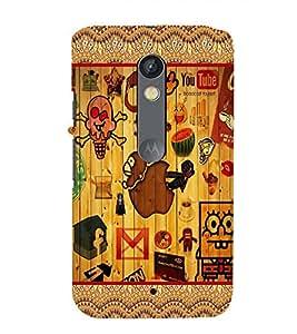 Fuson Colorfull Pattern Case Cover for Motorola Moto X play