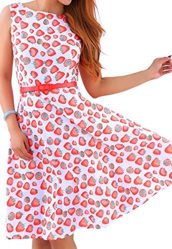 OMZIN Frauen Vintage Kleid 1950er Jahre Classy Abend Swing Party Kleid Rosa M - Classy Brautjungfer Kleider