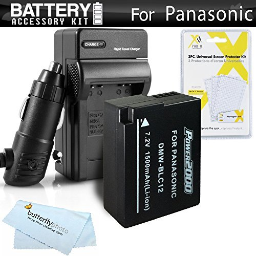 Battery And Charger Kit For Panasonic Lumix DMC-FZ1000 DMC-FZ200 DMC-G5 DMC-G6 DMC-GH2 DMC-FZ300K DMC-GX8 DMC-G7 Digital Camera Includes Replacement DMW-BLC12 DMW-BLC12E DMW-BLC12PP Battery (FULLY DECODED!) + Charger + More