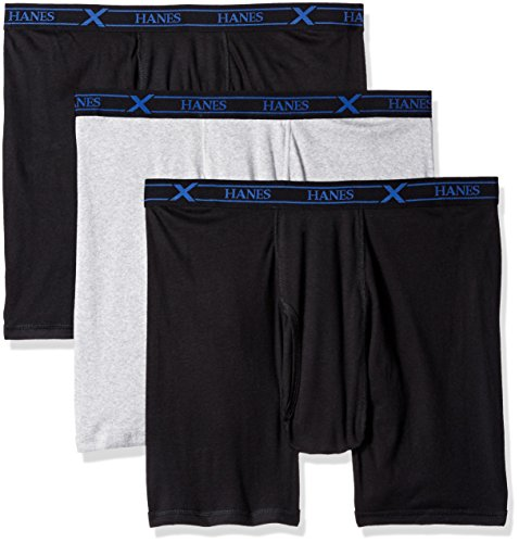 Hanes Men's 3-Pack X-Temp Big and Tall Boxer Brief, Black/Grey, XXXXXL (Big And Tall Briefs Boxer)