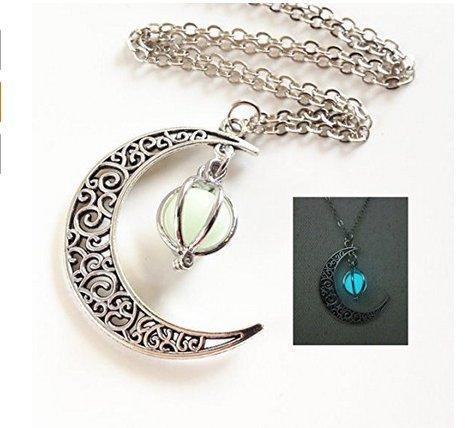 Glowing crescent moon collana, collana glowing orb, glow in the dark necklace, twilight collana, gioielli di halloween, regalo di halloween