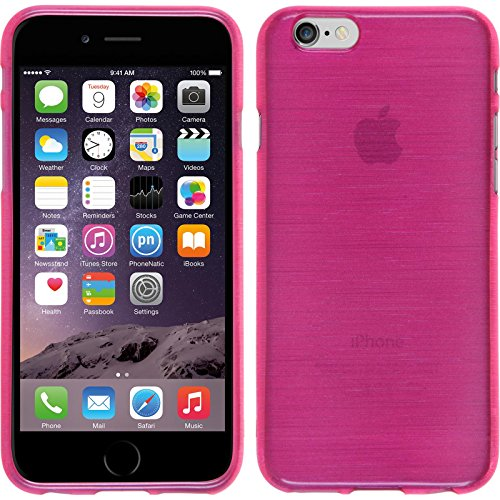 PhoneNatic Case für Apple iPhone 6s / 6 Hülle Silikon rosa brushed Cover iPhone 6s / 6 Tasche + 2 Schutzfolien Pink