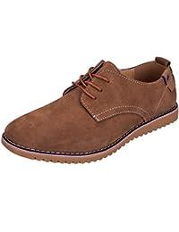 6cc1ed28c2 WhiFan Zapatos de Cuero Casual Oxford Zapatos de Vestir Hombre Casuales con  Cordones Derby Zapatos