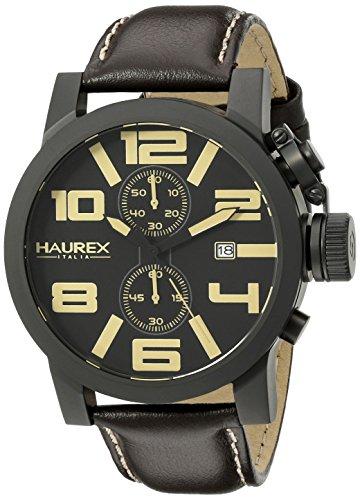 Haurex Italy Men's 3N506UTM TURBINA II Black Watch with Brown Band