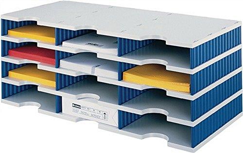 Sortierablage Trio PS grau/blau 12 Fächer Fach-H.57mm B.723xH.331mm