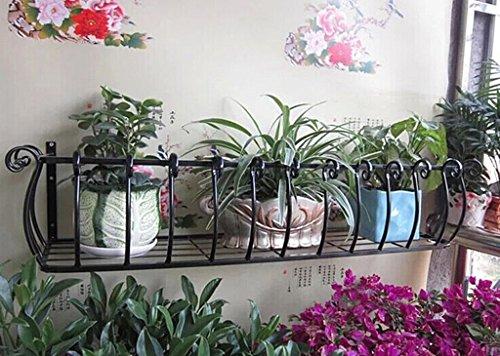JAZS® Porte-fleurs, Fer à repasser en bois de style européen Balustrade Salon intérieur Murs suspendus Porte-pot à fleurs Porte-fleurs protection de l'environnement raffinée ( Couleur : Noir , taille : 60*28*20cm )