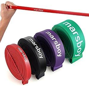 Marsboy- Latex Traction Bande Elastique pour Exercices Yoga Musculation Fitness Pilate Bande de Résistance Elastique Rééducation Sportif Bande Elastique Gym FormeTraining Entraînement 4 niveau de résistance à choisir