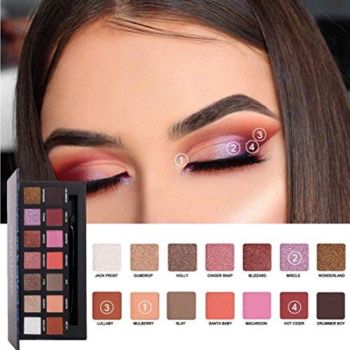 Fards à paupières,HANDAIYAN 14 couleurs yeux ombre maquillage perle métallisé palette fard à paupières maquillage ombre à paupières crème ensemble par LHWY (B)