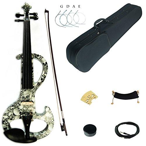 1 Violin Bow 8 (Kinglos 4/4 Schädel Farbig Massivholz Mittlere-A Elektrische Violine Geige Set mit Ebenholz Beschläge (DSZA1312))