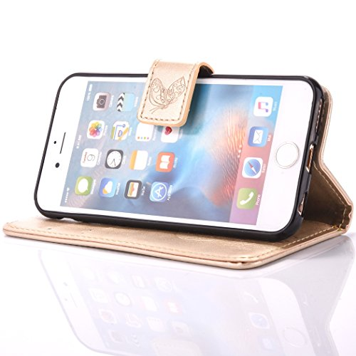Custodia iPhone 6 - Cover iPhone 6S - ISAKEN Accessories Cover in PU Pelle Portafoglio Tinta Unita Custodia, Elegante Embossed Rose Pattern Design in Sintetica Ecopelle Libro Bookstyle Wallet Flip Por Dreamcatcher: gold