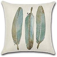 Decorativa almohada Vintage Muelle plumas de pavo real impresión Impreso Sofá Decoración Cojín Caso agarre Bar Funda de almohada cojín de móvil Salón Graues Cyan