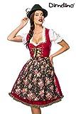 Luxus Designer Dirndl mit Schürze Kleid Dirndkleid Oktoberfest Tracht Trachtenkleid Spitze Denim Blumenprint Paspelierung Rüschen-  S, Rot/Grün