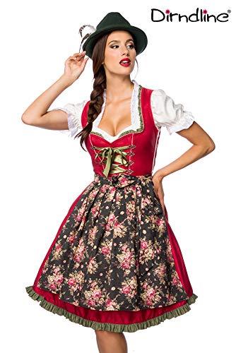 Luxus Designer Dirndl mit Schürze Kleid Dirndkleid Oktoberfest Tracht Trachtenkleid Spitze Denim Blumenprint Paspelierung Rüschen-  L, Rot/Grün