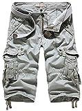 Mochoose Homme Pantalons Courts Coton de L'été Vintage Cargo Travail Casual 3/4 Shorts Multi Pockets Sport et Loisir(Gris Clair,40)
