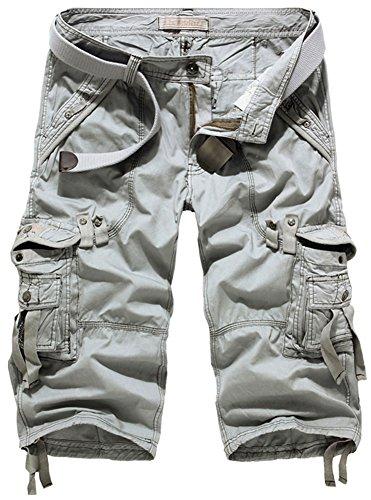 Cargo Baumwoll-mantel (Mochoose Herren Sommer Casual Cotton Twill Cargo Shorts 3/4 Multi Taschen Outdoor tragen Hosen(Hellgrau,31))