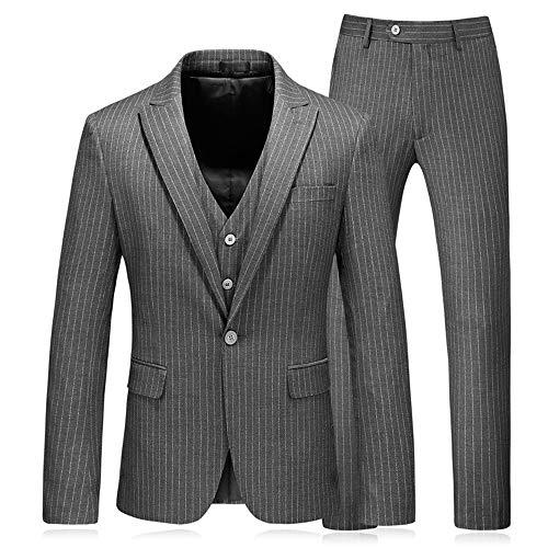 CALVINSUIT Herren Grau 3 Stück Nadelstreifen Anzug Retro Vintage Blazer Smoking Jacke Hose Weste