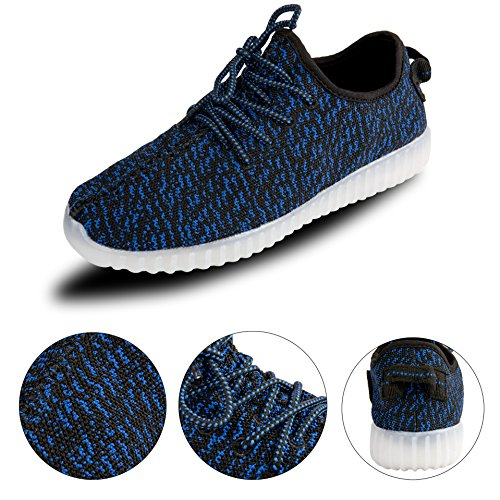 Leadfas Led Shoes, 7 Colori Light Up Sneaker Uomo Donna Sports Outdoor Athletic Usb Charging Trainer Per Natale Halloween Gift Boys Girls Led Couple Sneaker Blu