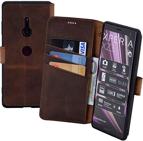 Suncase Book-Style kompatibel für Sony Xperia XZ3 Hülle (Slim-Fit) Leder Tasche Handytasche Schutzhülle Case (mit Standfunktion und Kartenfach - Bruchfester Innenschale) in antik Coffee