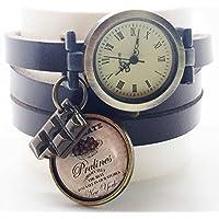 montre cuir bracelet 3 liens cabochon bronze illustré vintage, chocolat, gateau, sucrerie, marron, cadeau noel, cadeau femme, cadeau saint valentin, idée cadeau