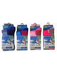 Kids/Girls Winter Thermal High Performance Ski Socks With Extra Cushioning available in 3 Sizes 4 pack 9-12
