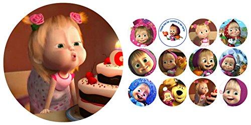 Tortenaufleger + 12 x Muffinaufleger Tortenfoto Aufleger Foto Bild Mascha und der Bär (21+23) *NEU*OVP*