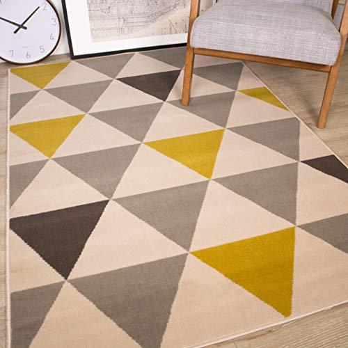 The Rug House Milan Ocre Amarillo Mostaza Gris Beige con triángulos arlequín Tradicional Alfombra...