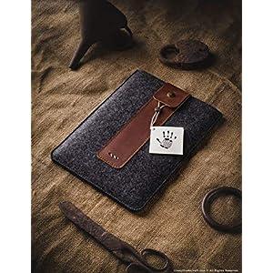 iPad 10.2 Zoll Leder- und Wollfilz Hülle/Etui   Classic Brown, Stifthalter, Vintage Italian vegetable gegerbt Crazy Horse Style Leder und German 100% Wollfilz Tablettenbezug, Crazy Horse Craft