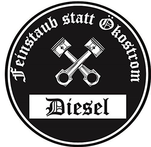 (Feinstaub Statt Ökostrom Aufkleber Sticker Schwarze Umwelt-Plakette Diesel JDM 2 Stück Fun Lustig Umweltzone Fahrverbot Autoaufkleber LKW)