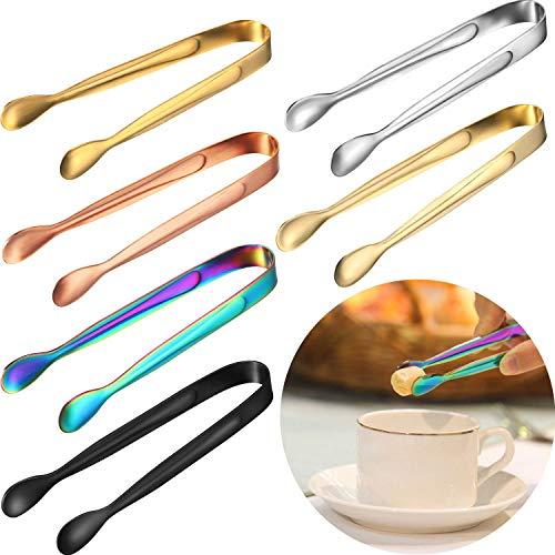Pinzas de hielo,Pinza Azúcar de Acero Inoxidable 6 piezas Multicolor Mini Pinzas de Dulce para Muffins Panqueques Galletas Chocolate