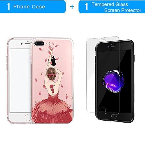 Coque iPhone 7 Plus, TrendyBox Transparent PC Hard Cover avec soft TPU Pare-chocs pour iPhone 7 Plus avec verre trempe film de protection (Fille et Swan) 102