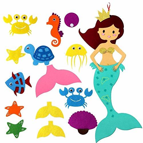 AmaJOY DIY Cartoon Filz Pin den Schwanz auf die Meerjungfrau Party Spiele mit 14pcs DIY abnehmbare Ornamente, bunte hängende Dekorationen für Kinder Kinderzimmer Schlafzimmer