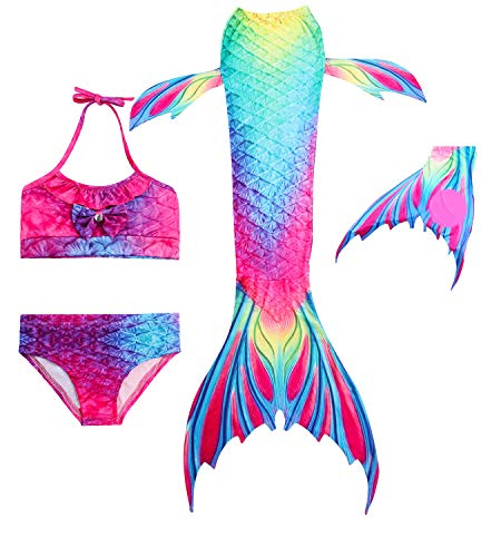 HiFunBay Colas de Sirena para Nadar con Aleta para niñas 3/4/5 PCs con monoaleta y Flor Garland Diadema (DH02-F03,140)