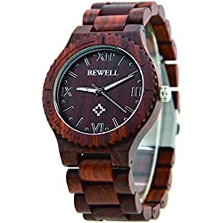 Bewell Wristwatch Men Red Sandalwood with Adjustable Wooden Strap Quartz Watch Wood Wrist with Wooden Box