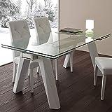 M-029 Esstisch, ausziehbar, aus Glas und Stahl, Design Carla