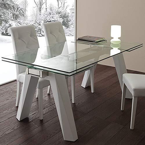 M-029 - Mesa de comedor extensible de cristal y acero, diseño ...