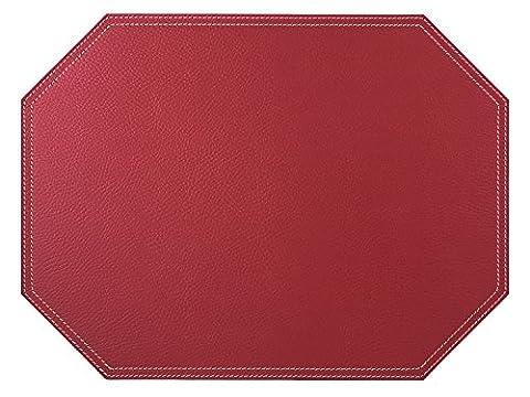 1 pièce Octogone Set de table rouge, Set de table en cuir recyclé de sélection de couleurs, Tapis de place, rouge, 30*40